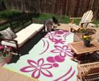 Flower 180x120cm Recycled Outdoor Rug - Pink/White 4