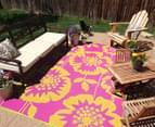 Floral 180x120cm Recycled Outdoor Rug - Orange/Pink 4