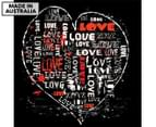 Grunge Love Heart 75x75cm Canvas Wall Art 1