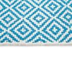 Diamond 80x50cm Hand-Loomed Rug - Blue/White 4