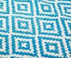 Diamond 80x50cm Hand-Loomed Rug - Blue/White 5