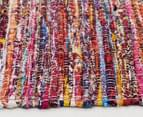 Sari 220x150cm Upcycled Flatweave Rug - Bohemian Red 3