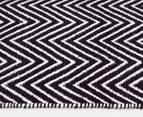 Dreamy Cotton Flatweave 220x150cm Reversible Rug - Black 3