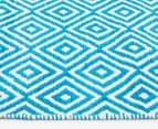 Dreamy Cotton Flatweave 270x180cm Reversible Rug - Turquoise 3