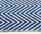 Chevron 270x180cm Dreamy Cotton Flatweave Rug - Navy 3