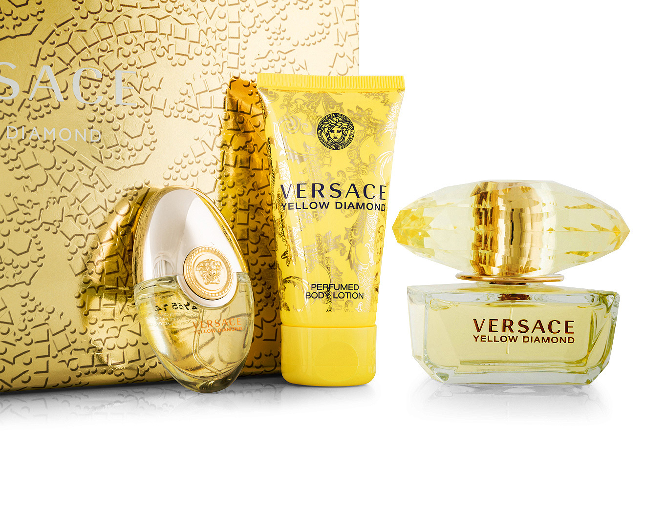 versace yellow diamond edt 3 piece gift set. Black Bedroom Furniture Sets. Home Design Ideas