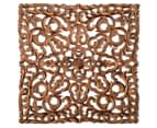 Carved Square 60x60cm Wooden Wall Hanging - Burnt Brown 1