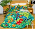 Retro Home Tropica Double Quilt Cover Set - Green 1