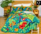 Retro Home Tropica Queen Quilt Cover Set - Green 1