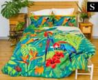 Retro Home Tropica Single Quilt Cover Set - Green 1