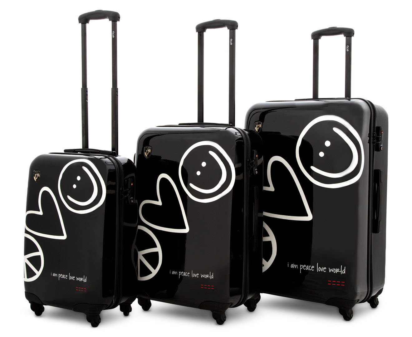 Heys Peace Love World Rollercase  Piece Set Black Great Daily Deals At Australias Favourite Superstore Catch Com Au