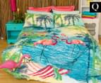 Retro Home Flamingo Queen Quilt Cover Set - Aqua 1
