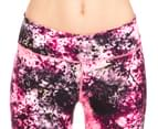 Calvin Klein Performance Women's Blackthorn Print Mesh Insert Crop Tight - Day Glow Combo 3