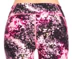 Calvin Klein Performance Women's Blackthorn Print Mesh Insert Crop Tight - Day Glow Combo 4