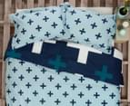 Ardor Christo Reversible King Bed Quilt Cover Set - Blue 2