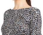 Kardashian Kollection Women's Scoop Back Body Con Dress - Spotted Leopard 6