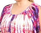 Autograph Women's Plus Size Peasant Border Tunic Dress - Tie Dye 6