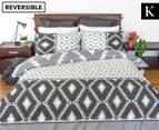 Apartmento Dakota Reversible King Bed Quilt Cover Set - Charcoal 1