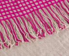 WAM Harrison Square 152x127cm Acrylic Throw w/ Fringe - Pink 3