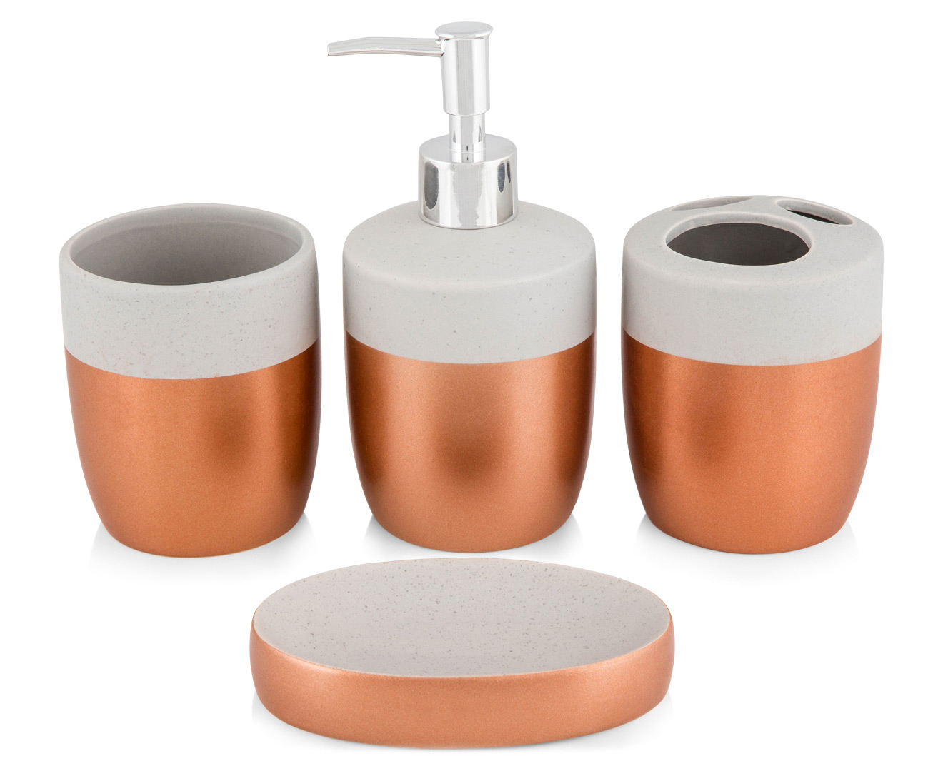 Cooper & Co. Bathroom Accessories 4-Pack - Copper/Concrete | Catch ...