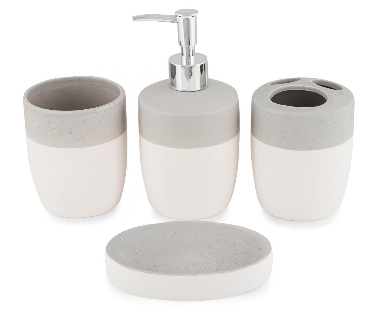 Cooper & Co. Bathroom Accessories 4-Pack - White/Concrete | Catch.com.au