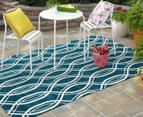 Modern Waves 330x240cm Indoor/Outdoor Rug - Peacock Blue 2