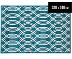 Modern Waves 330x240cm Indoor/Outdoor Rug - Peacock Blue 1