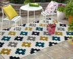 Scandi Geo 330x240cm Indoor/Outdoor Rug - Yellow/Navy/Grey/Peacock Blue 2