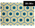 Coastal Hexagon 330x240cm Indoor/Outdoor Rug - Peacock Blue/Yellow 1