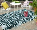 Geometric Centrepoint 290x200cm Indoor/Outdoor Rug - Peacock 2