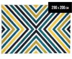 X-Factor 290x200cm Indoor/Outdoor Rug - Peacock Blue/Navy/Yellow/White 1
