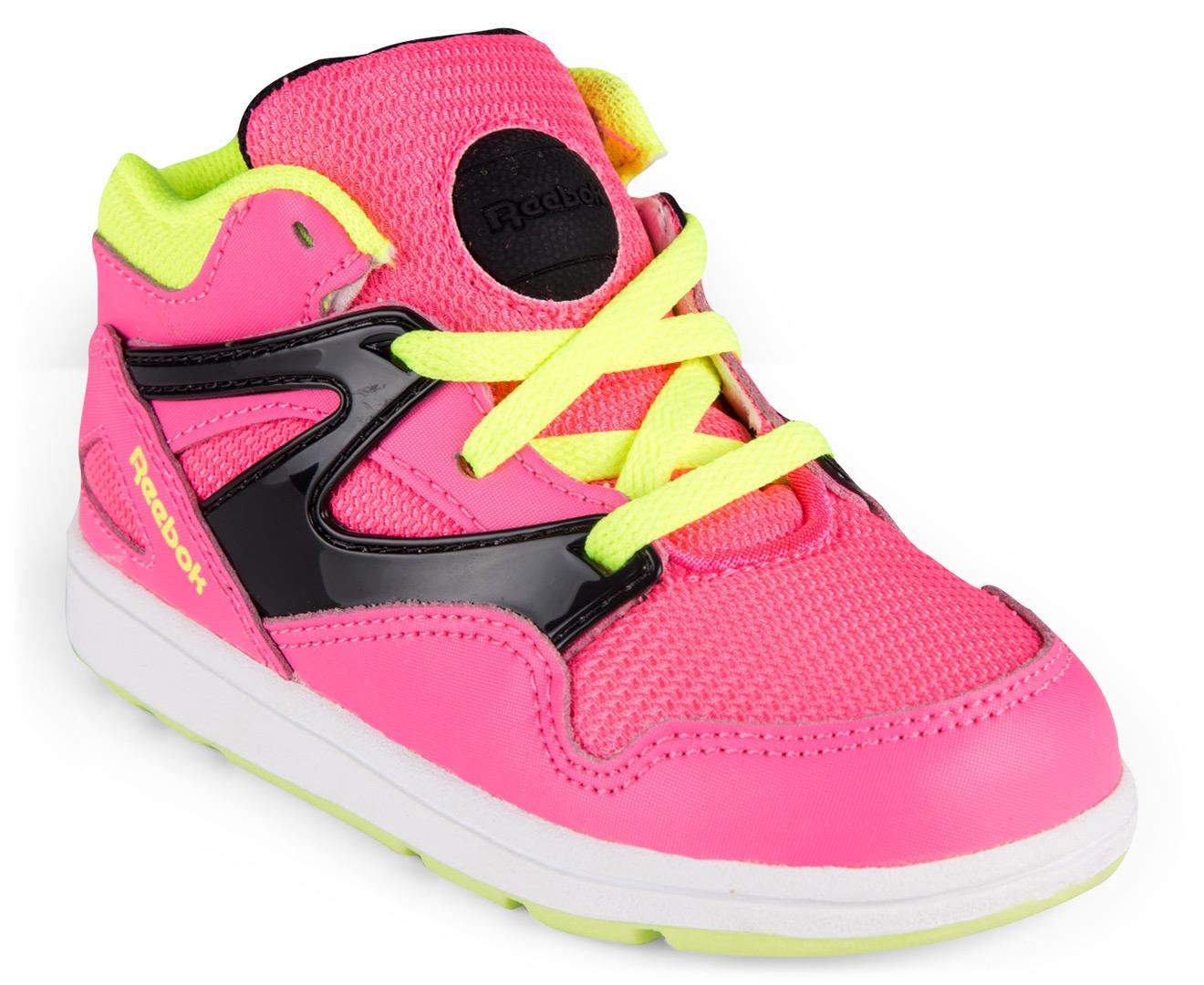 44fe593eed5f7 Reebok Toddler  Versa Pump Omni Lite Shoe - Pink Black Yellow White ...