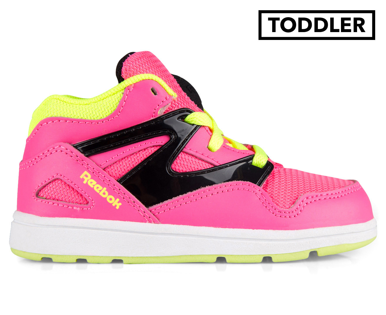 06d9aa5c9e1818 Reebok Toddler  Versa Pump Omni Lite Shoe - Pink Black Yellow White ...