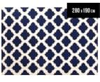 Lattice 280x190cm Pure Wool Flatweave Rug - Navy 1