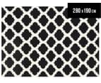Lattice 280x190cm Pure Wool Flatweave Rug - Black 1