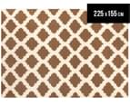 Lattice 225x155cm Pure Wool Flatweave Rug - Taupe 1