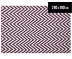 Chevron 280x190cm Reversible Rug - Purple 1