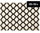 Lattice 280x190cm Pure Wool Flatweave Rug - Black/Cream 1