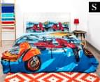 Retro Home Scooter Single Quilt Cover Set - Blue 1