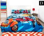 Retro Home Scooter Double Quilt Cover Set - Blue 1