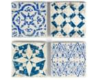 Set of 4 Blu-Bianco Coasters - Blue/White 1