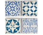 Set of 4 Blu-Bianco Coasters - Blue/White 1