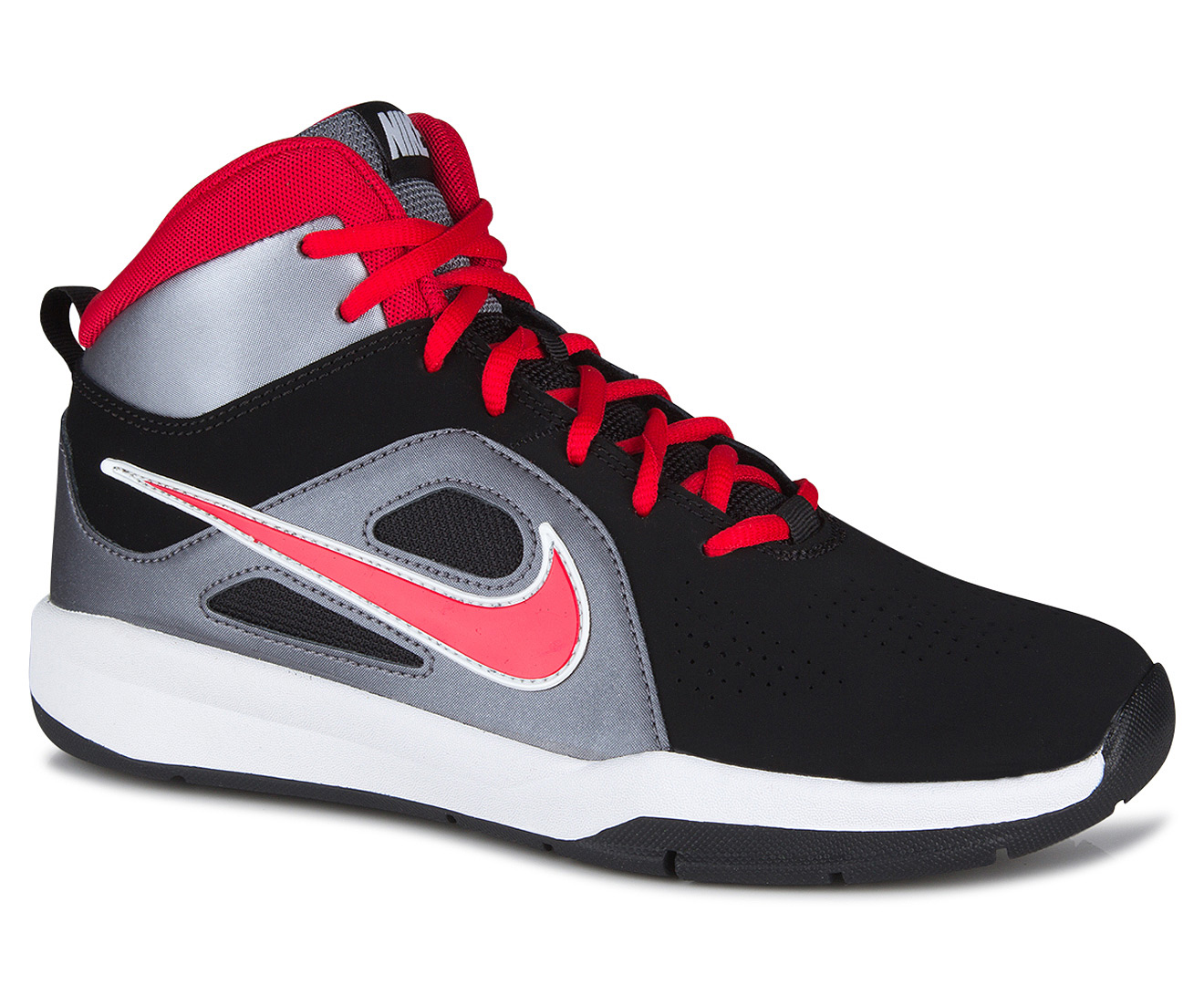 hot sale online 34852 5ed46 Nike Grade-School Kids  Team Hustle D6 (GS) Shoe - Black University Red  Metallic Cool Grey White   Catch.com.au