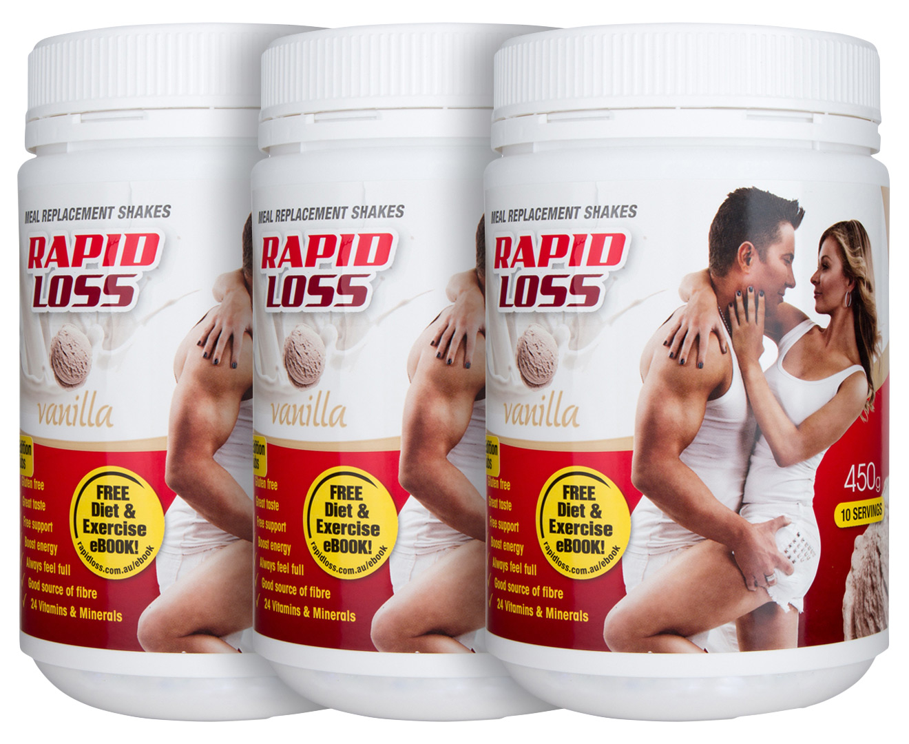 3 x Rapid Loss Meal Replacement Shake Vanilla 450g | Great ...