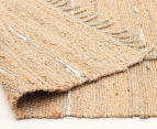 Soft Metallic 220x150cm Handmade Jute & Leather Rug - Natural 4