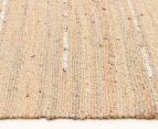 Soft Metallic 270x180cm Handmade Jute & Leather Rug - Natural 3