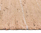 Soft Metallic 220x150cm Handmade Jute & Leather Rug - Nude 3