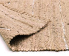 Soft Metallic 220x150cm Handmade Jute & Leather Rug - Nude 4