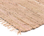 Soft Metallic 320x230cm Handmade Jute & Leather Rug - Nude 2