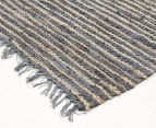 Handmade 400x80cm Leather & Jute Runner - Grey 2